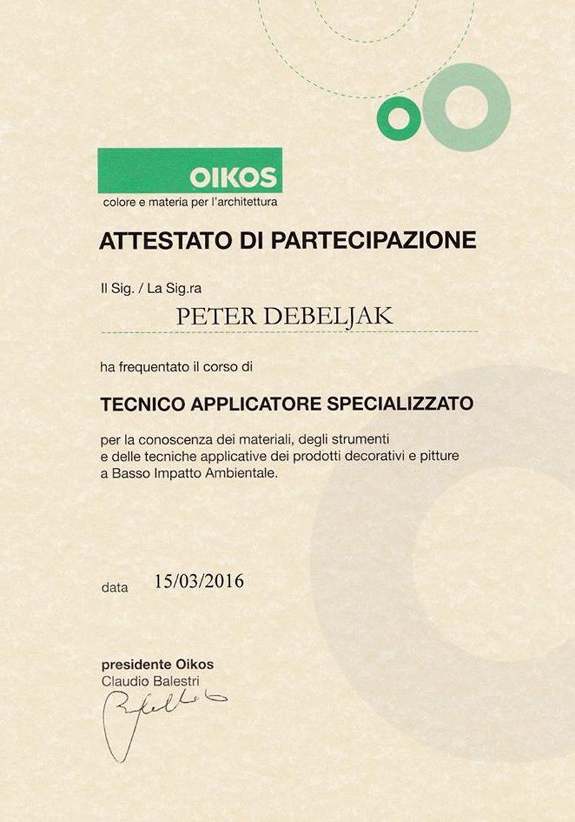 Zaključna gradbena dela - slikopleskarstvo Peter Debeljak s.p. certifikat
