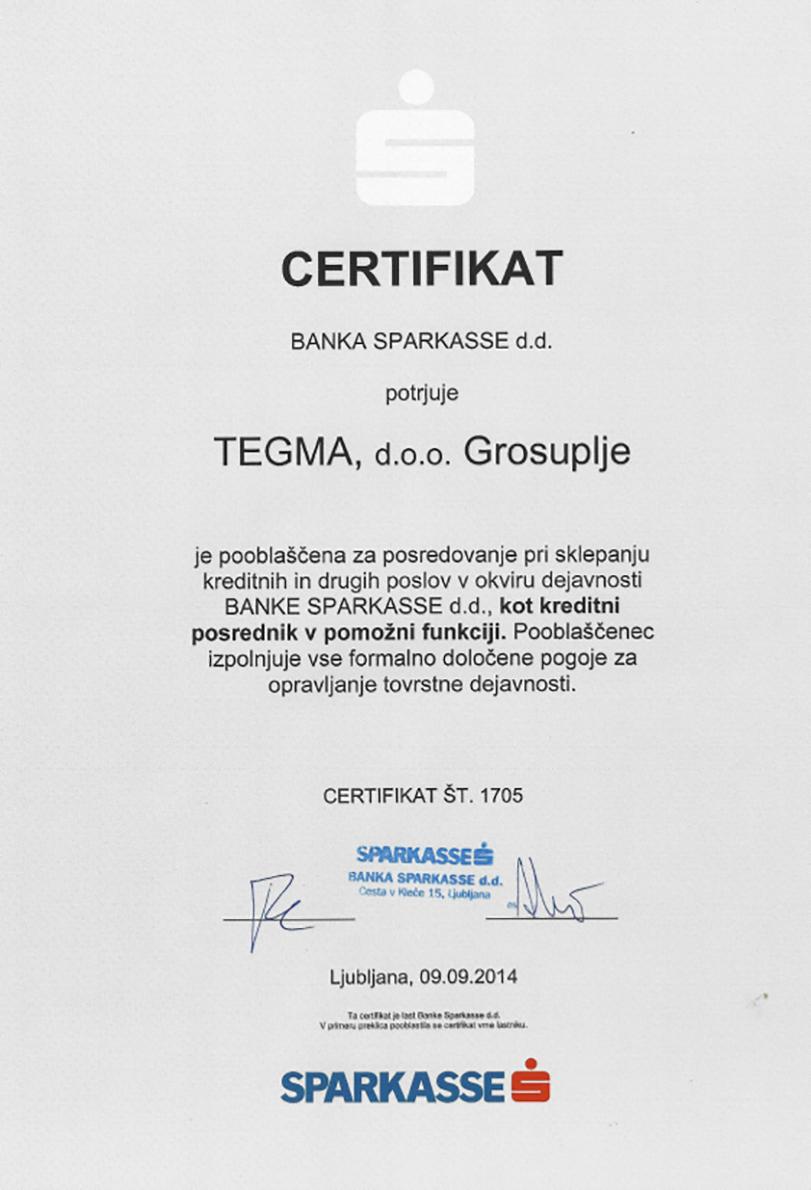 Računovodski servis TEGMA, d.o.o. CERTIFIKAT