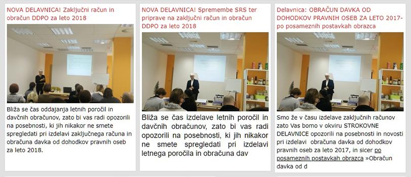 Davčno, računovodsko in poslovno svetovanje Ida Kavčič s.p. DELAVNICE IZOBRAŽEVANJA